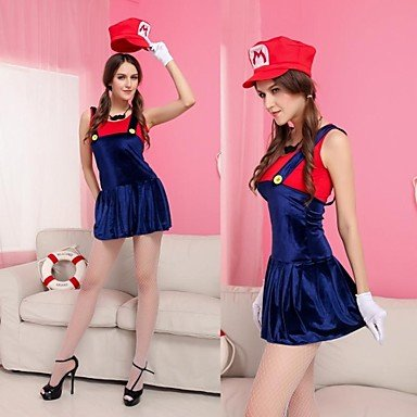 ANDP Mrs Mario Cosplay Dress Adult Women's Costume , red
