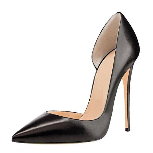 Schuhe Black Pumps Stiletto Hoher Abend Parteischuhe Hochzeit Zehe EDEFS Spitz Damen Absatz d'Orsay xwUtF71g