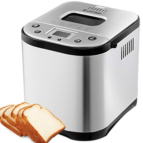 COSTWAY Automatic Bread Maker Stainless Steel Programmable Multifunctional Bread Machine with 19 Programs, 3 Loaf Sizes, 3 Crust Colors, 15 Hours Delay Timer, 1 Hour Keep Warm