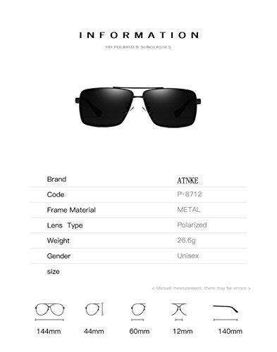 T4 HD reflectante gafas Aviator Vintage metal lente con hombres para ATNKE protección gafas UV400 tamaño polarized sol de de de Retro marco las mujeres de gran de FdwU1xg