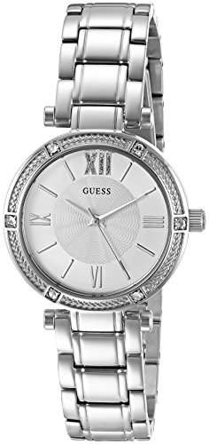 GUESS Women s Dressy Watch with White Dial, Crystal-Accented Bezel and Stainless Steel Pilot Buckle