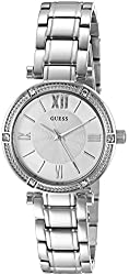 GUESS Women's U0767L1 Jewelry-Inspired Silver-Tone Watch with Self-Adjustable Links