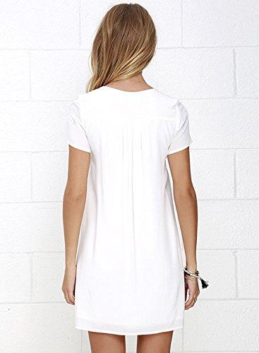 ACHICGIRL Mujer Vestido Estampado de Hojas Recorte Cuello V Blanco