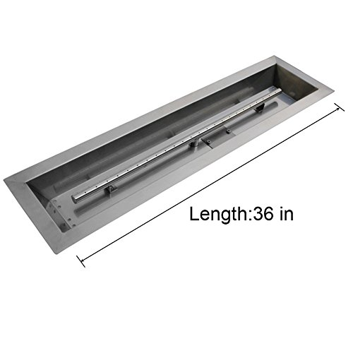 Stanbroil Stainless Steel Linear Trough Drop-In Fire Pit Pan and Burner 36  by 6-Inch - Stainless Steel Fire Pit Burner Kit: Amazon.com