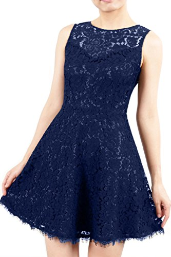 MACloth Formal High Mini Cocktail Sleeveless Party Gown Dunkelmarine Dress Short Lace Neck aB4W7rza