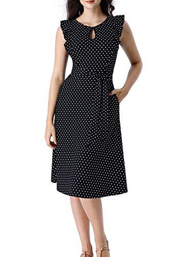 Button Blk - VFSHOW Womens Summer Boho Black Polka Dot Ruffle Sleeves Keyhole Pockets Casual Beach A-Line Midi Dress G2972 BLK S