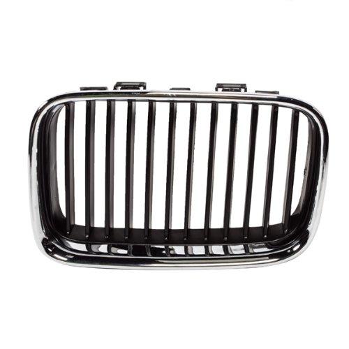 CarPartsDepot, Front Grill Grille Chrome Frame Matte Black Insert Left (Driver Side) Replacement, 400-12983-01 BM1200113 51138122237