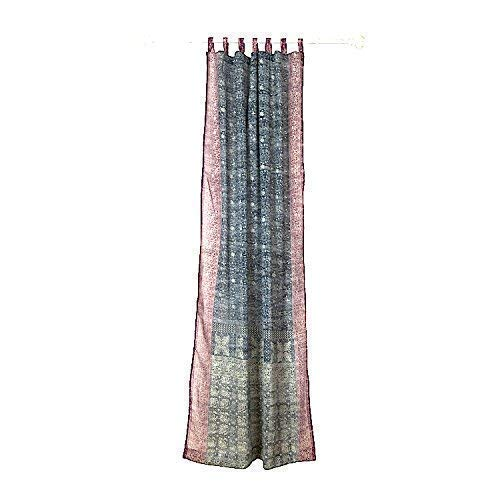 GREY PLUM CURTAIN Colorful Window Treatment Draperies Indian Sari panel 108 96 84 inch for bedroom living room dining room kids yoga studio canopy boho tent with GIFT bag Charcoal Slate Gray and Plum