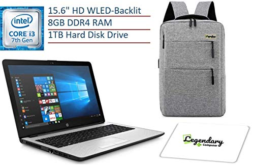 2019 HP 15.6 Inch HD Premium Business Laptop PC, Intel Dual-core i3-7100U, 8GB DDR4 RAM, 1TB HDD, USB 3.1, HDMI, WiFi, Bluetooth, Windows 10, W/ Legendary Computer Backpack & Mouse Pad Bundle (Best Laptops Of 2019 Under 1000)