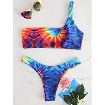 Amazoncom Women 2018 Tie Dye High Leg Bikini Set Brazillian