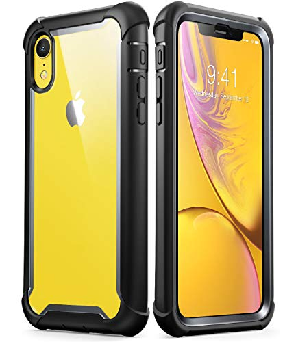 i-Blason Ares Full-Body Rugged Clear Bumper Case for iPhone XR 2018 Release, Black, 6.1