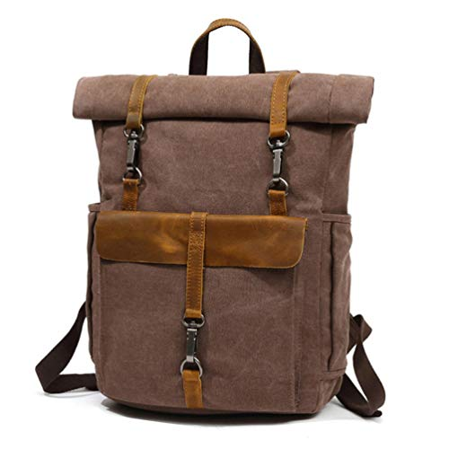 (YANJINGHONG Waxed Canvas Backpack 15.6-17 Inch Canvas Laptop Backpack Unisex Vintage Leather Casual School College Business Bags Hiking Travel)