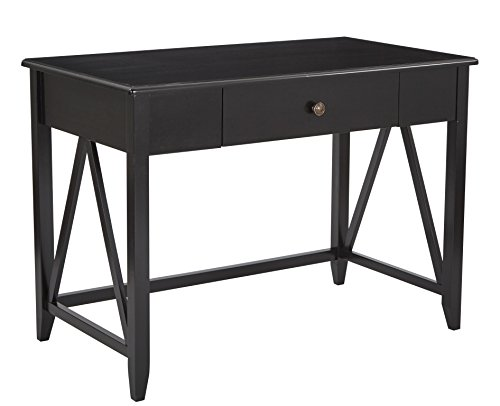 Office Star Santa Cruz Solid Wood and Veneer Writing Desk, Black (Office Santa Cruz Furniture)