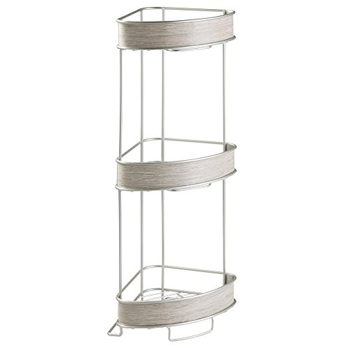 InterDesign RealWood Free Standing 3-Tier Corner Shelf for Bathroom - Satin/Gray Wood (3 Shelf Corner Stand)