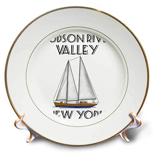 Hudson Valley Porcelain - 3dRose Macdonald Creative Studios - Nautical - Sailing Hudson River Valley New York Nautical Sailboat Design. - 8 inch Porcelain Plate (cp_299226_1)