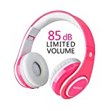 Girl Wireless Headphones,VOTONES 85dB Volume Limited Kids Bluetooth Headphones Children Over Ear Rechargeable Foldable Headset with Microphone, Compatible with Smart Phone PC Tablet for Study-Pink