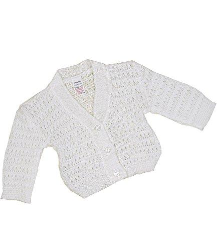 BabyPrem Baby Cardigan Jacket Lacey Acrylic Newborn-9 mths WHITE 0-3