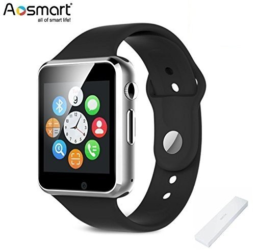 Bluetooth Smart Watch with Camera, Aosmart B1 Smart Watch for Android Smartphones (JetBlack)