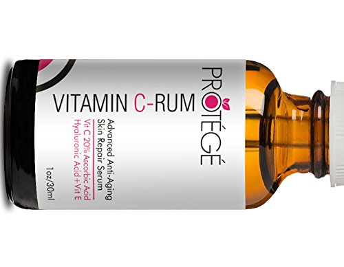 Vitamin C-RUM - Vitamin C Serum for Your Face 20% Ascorbic Acid + Hyaluronic Acid + Vitamin E and Antioxidants + Brightens Skin + Reduces Fine Lines and Wrinkles - Anti Aging Powerhouse (30 ml) Protege VITC01