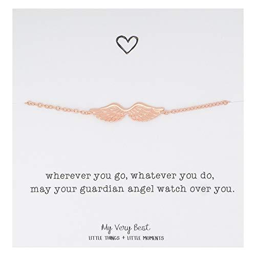 (My Very Best Dainty Angel Wing Bracelet (Rose Gold Plated)