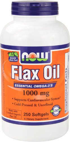 NOW Foods Flax Oil 1000 mg, 250 gélules