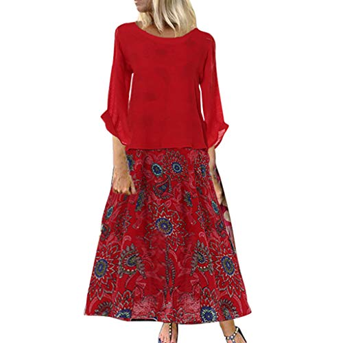 TUSANG Women Skirt Leisure O-Neck Loose 3/4 Sleeve Vintage Casual Floral Print Long Dress Slim Fit Comfy Dress(B-Red,US-6/CN-M)