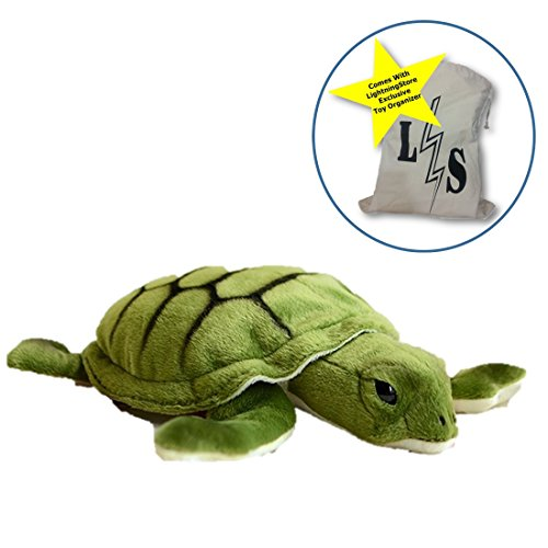 !! LightningStore Cute Turtle Dolls Realistic Looking Stuffed Animal Plush Toys Plushie Children's Gifts Animals + Toy Organizer Bag Bundle