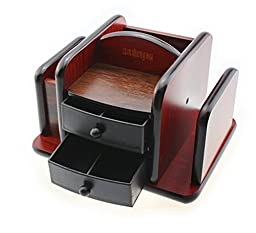 Multifunction with Drawers Rotatable Large Wooden Pencil Box Office Desktop Storage Box Combination Pen Holder