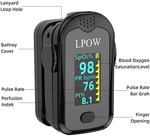 Pulse Oximeter Fingertip, Blood Oxygen Saturation Monitor for Pulse Rate, Heart Rate Monitor and SpO2 Levels with LED Screen Display Batteries and Lanyard Included 41uBJoBe 2BlL