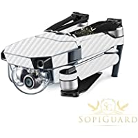 SopiGuard White Carbon Fiber Precision Edge-to-Edge Coverage Vinyl Skin Controller Battery Wrap for DJI Mavic Pro