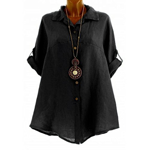 Flurries Women Dress, Fashion Women's Casual Solid Blouse Half-Sleeve Shirt Button Tops (XL, Black) by Flurries