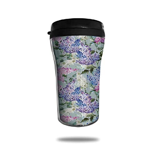8.8 OZ Double Wall Stainless Steel Vacuum Insulated Tumbler Travel Mug With Lid Various Mix Hyacinth Garden with Flowers and Leaf Branches Summer Plants Coffee Cup for Cold & Hot Drinks Lilac Fuchsia from Ylljy00