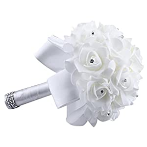 Gotd 1 Bouquet Crystal Roses Pearl Bridesmaid Wedding Bouquet Bridal Artificial Silk Flowers (White) 55
