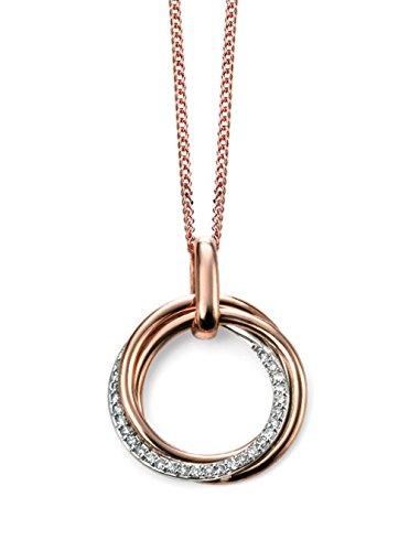 9ct or rose et diamants Pendentif Cercle ouvert