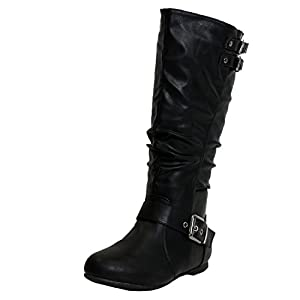 Top Moda Night-76 Women's Slouched Under Knee High Flat Boots, Black, 7