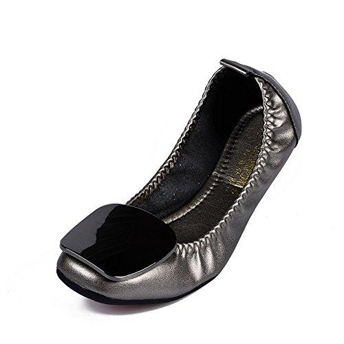 SHINIK 2018 Nuevos Zapatos de mujer de microfibra Primavera Otoño Comfort Flats Flat Heel Moda suave Slip-Ons Guisantes Zapatos Mocasines planos para trabajo informal D
