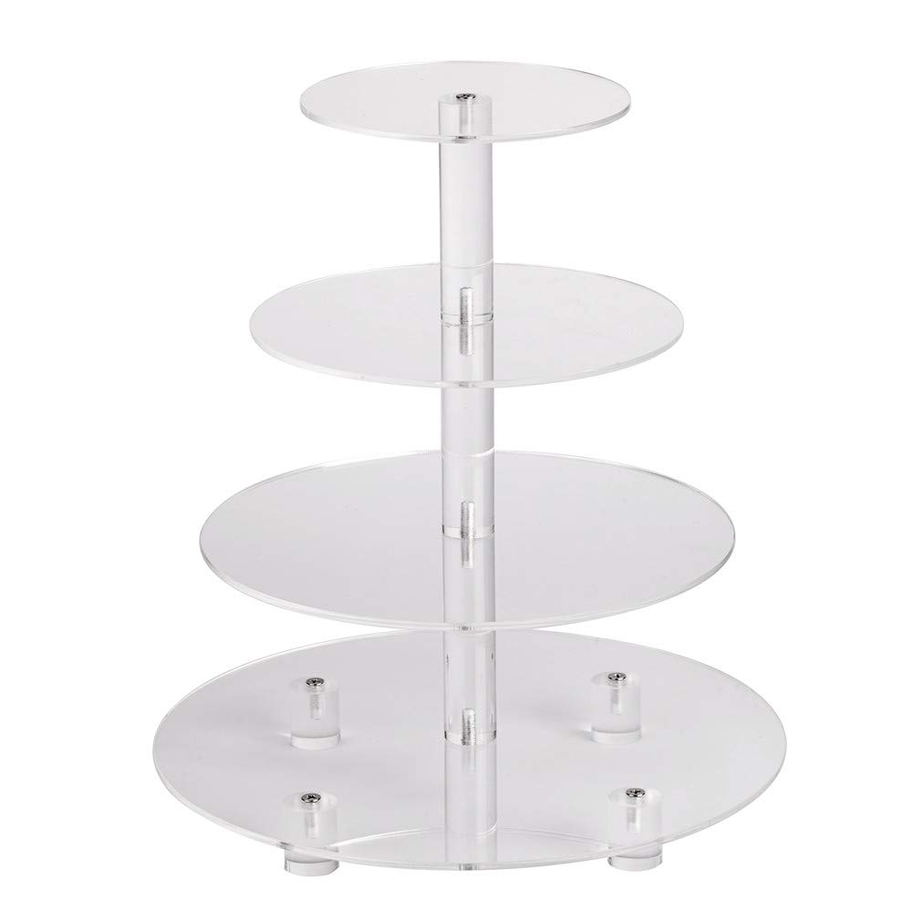 YestBuy 4 Tier Clear Round Wedding Party Acrylic Cupcake Display Tree Tower Stand 1 Unit/Pack (14 Inches) by YestBuy