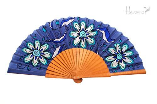 Flowers Seda Desconocido De Havanna Blue Abanico qBxg6wxX