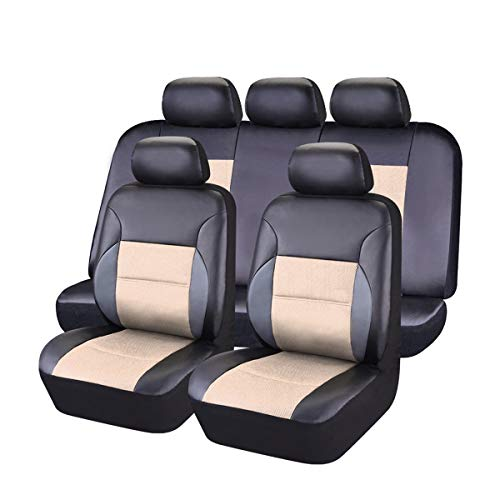 CAR PASS 11 Pieces Leather Universal Car Seat Covers Set - Black and Beige