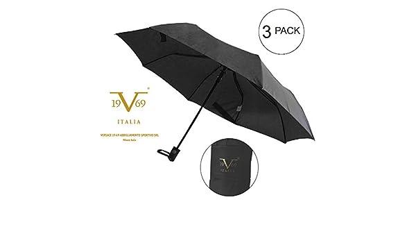 v1969 Abbigliamento Sportivo Srl Deluxe plegable paraguas mango negro (3 unidades): Amazon.es: Electrónica