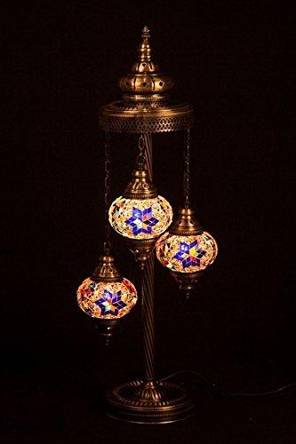 3 Shade Stained Glass Lamp - Mosaic Standing Floor 3 Globe, Handmade Authentic Tiffany Lighting Moroccan Lamp Glass Stunning Bedside Night Lights Brass&Glass Ottoman Turkish Style