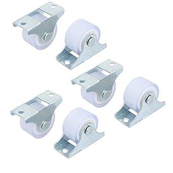 eDealMax Muebles carretilla Rack 1 pulgada Dia Metal Placa Superior silenciosa PVC fijo 6pcs Caster ruedas