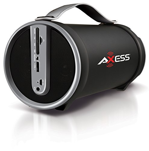 AXESS SPBT1033-RD Portable Indoor/Outdoor Bluetooth Hi-Fi Cylinder 2.1 Speaker with Micro SD Card Slot and USB Port
