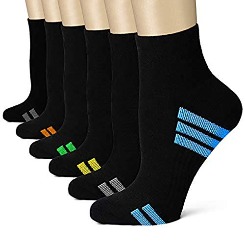 Bluemaple Compression Socks for Women and Men, Compression Ankle Socks, Golf Socks,Regular wear, Fashion wear -Say Goodbye to Your Pain (Assorted6, Small/Medium) ()