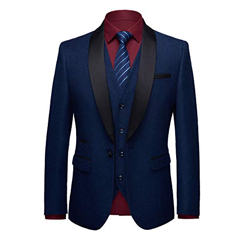 WEEN CHARM Men's Shawl Lapel 3-Pieces Suit Slim Fit One Button Dress Suit Blazer Jacket Pants Tux ()