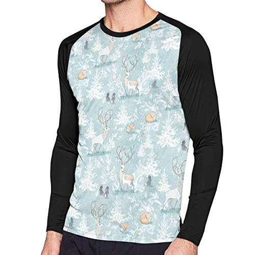(Mens Tee Shirts, Slim Vintage Woodland Christmas Pattern1 Long-Sleeved Tops for Men)