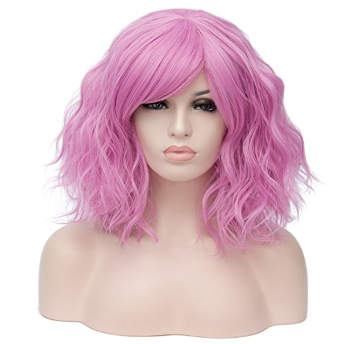 Women's Short Curly Wig 14 Inches Bob Wigs with Fringe for Women Cosplay Party Fancy Dress, Pink -