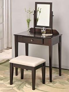 Amazon.com: White Bedroom Vanity Table with Tilt Mirror ...