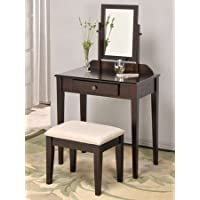Espresso Founder Wooden Vanity Set w/ Stool & Mirror