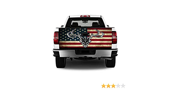 Tailgate Wrap American Flag Deer T330 Vinyl Graphic Decal Sticker F150 F250 F350 Ram Silverado Sierra Tundra Tacoma 1500 2500 3500 Bed Cover Tint Image